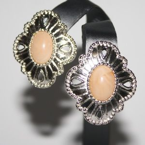 Beautiful silver and coral vintage earrings